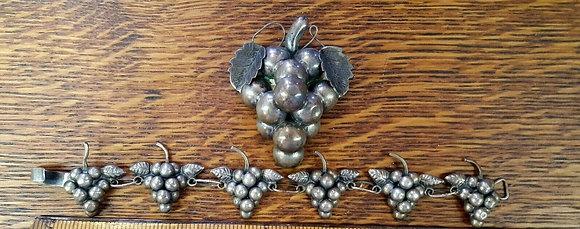 Vintage Taxco Silver Grape Cluster Bracelet and Pendant