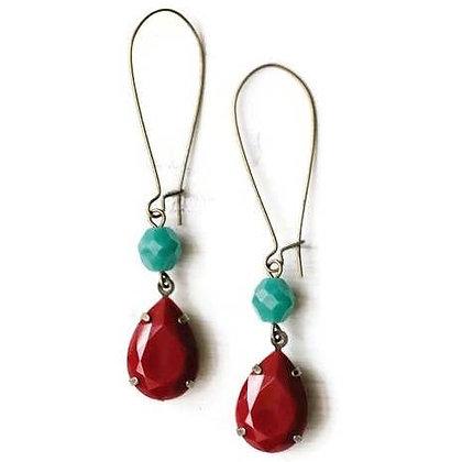 Red Drop Earrings w/ Teal Bead
