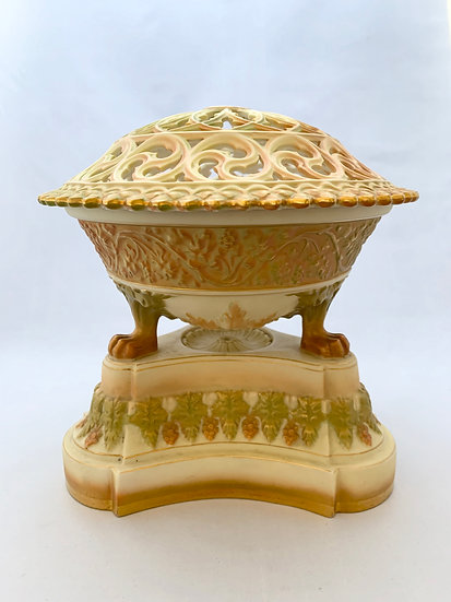 Large Royal Worcester blush and green pedestal pot pourri