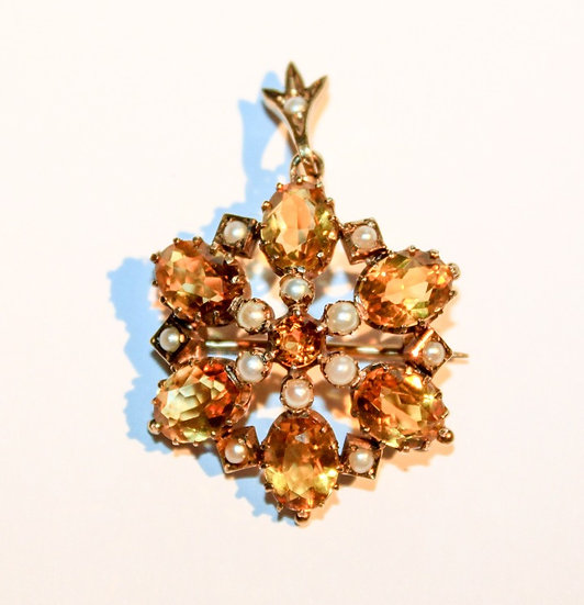 Edwardian style citrine and pearl pendant brooch