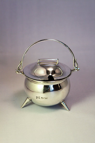 Novelty silver mustard pot in the shape of a cauldron