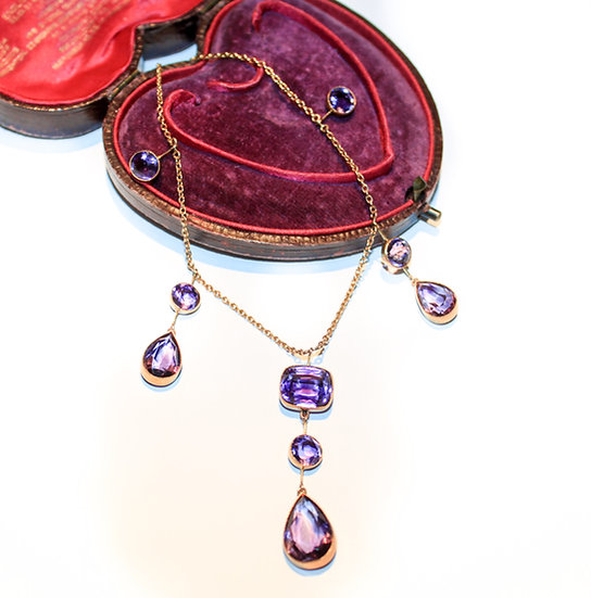 Amethyst and 9ct gold necklace