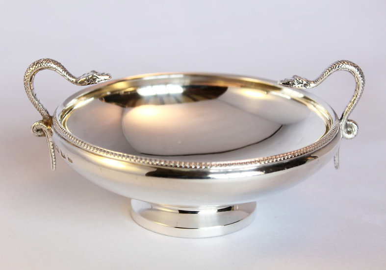 Silver bowl with snake handles