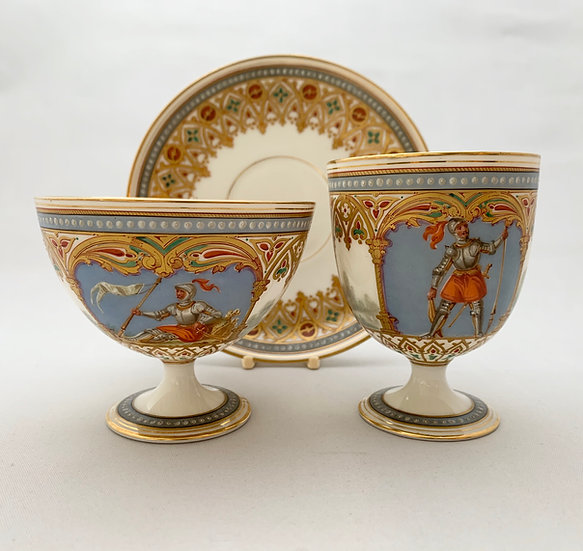 Limoges gothic revival trio painted with knights