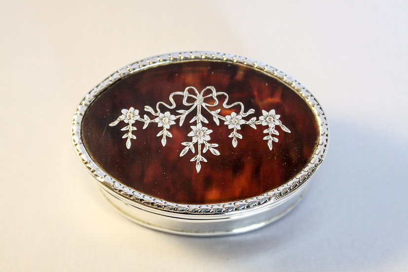 Tortoiseshell and silver piqué jewellery box