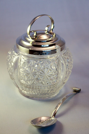 Silver and cut glass preserve pot with matching spoon