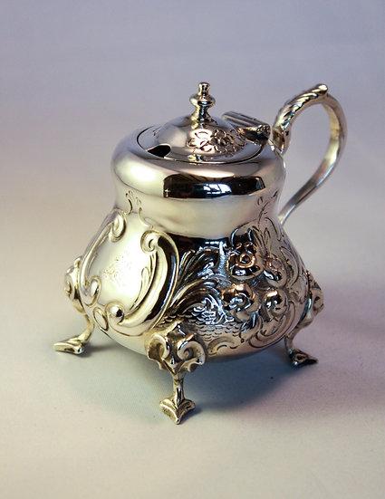 Victorian rococo revival silver mustard pot