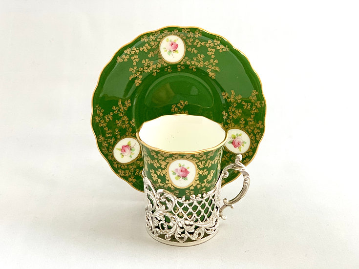 Coalport coffee cup and saucer with silver holder