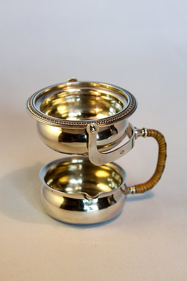 French silver tea strainer with cane handle