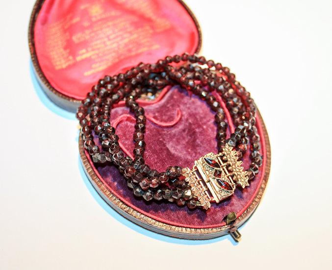 Vintage rough-cut garnet bracelet