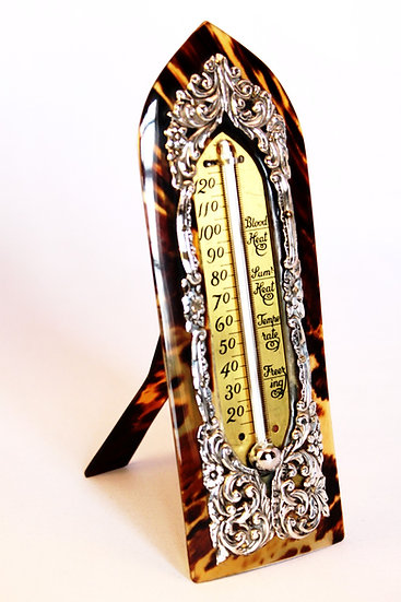 Silver and tortoiseshell thermometer