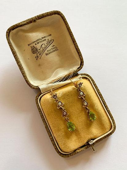 Pair of peridot and pearl earrings