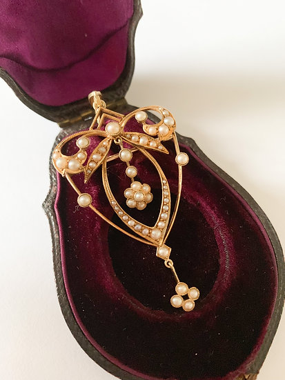 Edwardian 15ct gold and pearl pendant-brooch