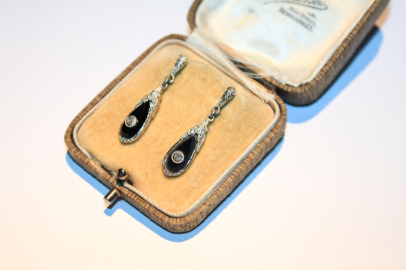 Pair of Art Deco style white gold,onyx and diamond earring