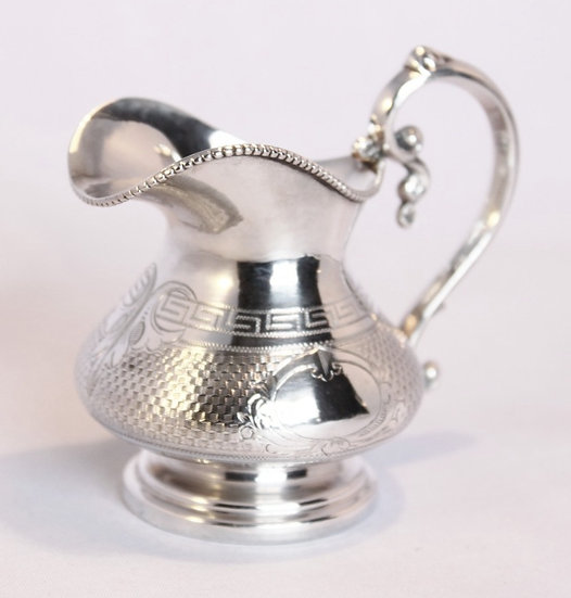 Miniature engine turned French silver jug