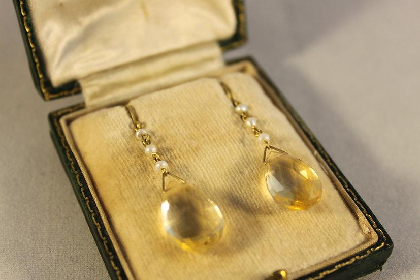 Citrine and pearl earrings