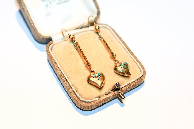 Pair of turquoise 'witches heart' earrings