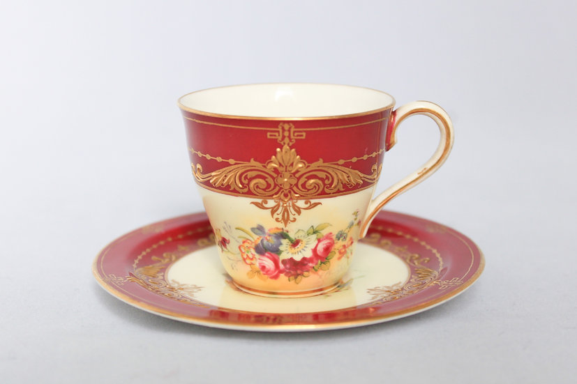 Royal Worcester handpainted demitasse coffee cup and saucer
