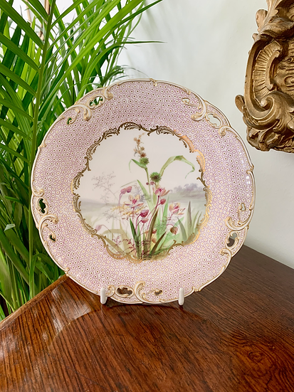 Minton plate painted with exotic flowers