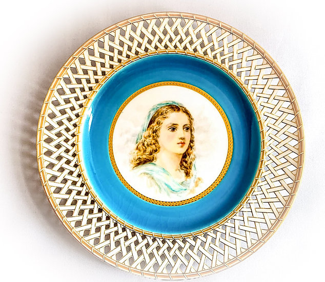 Minton plate painted with the head of a young woman