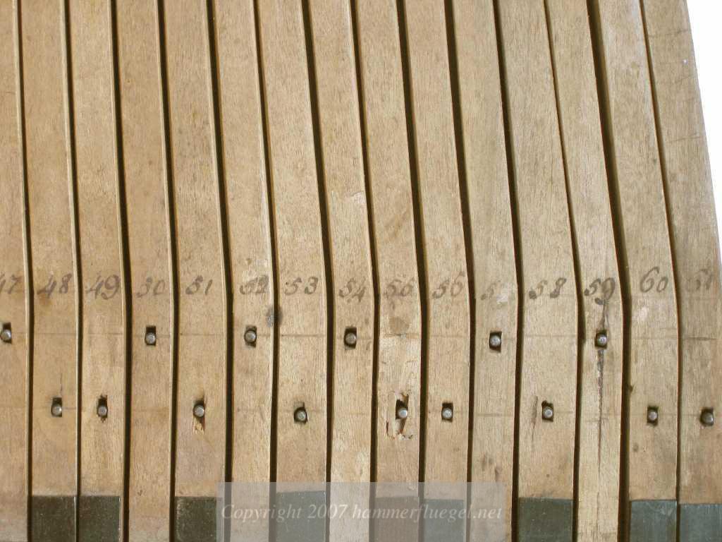 Handwritten numberings of keys by th