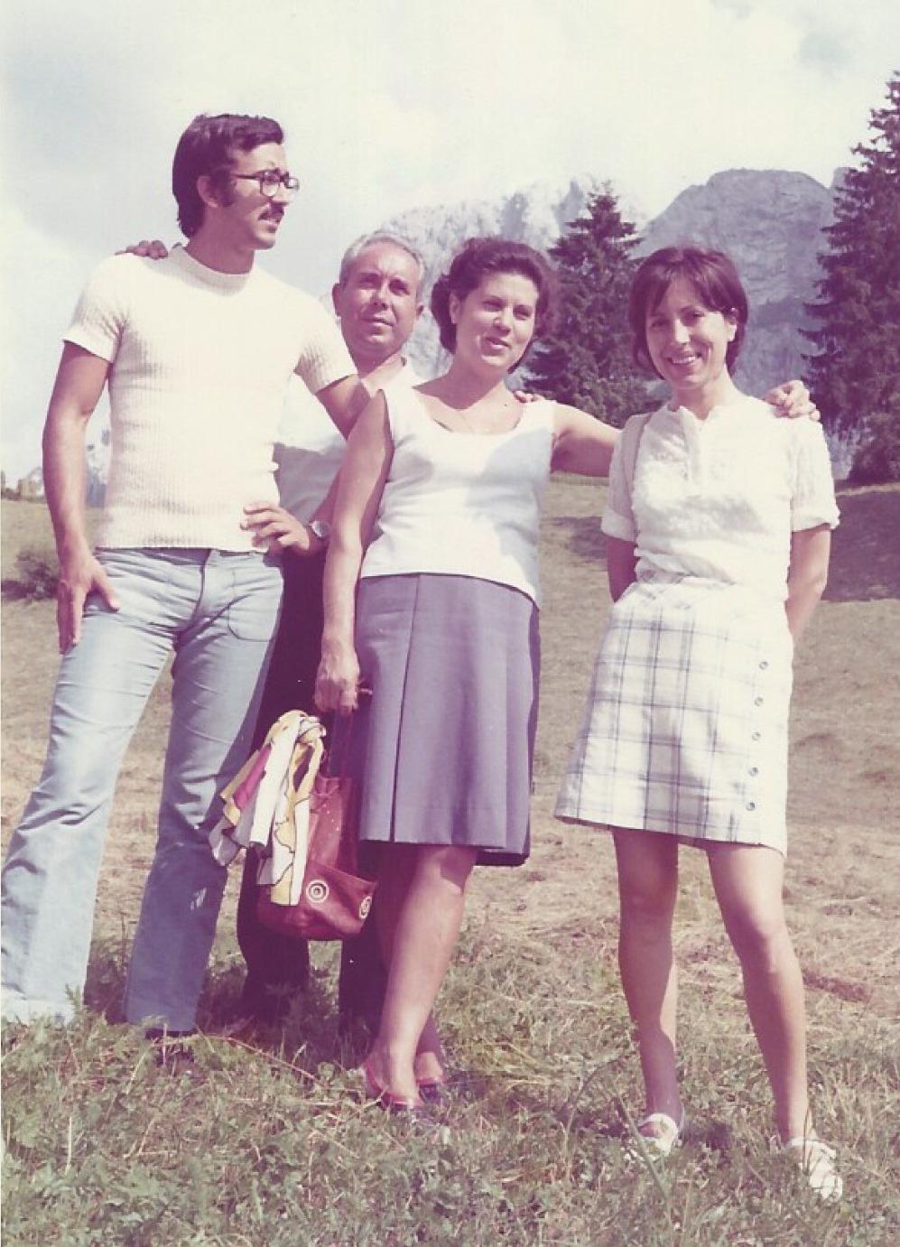 Val Gardena con famiglia, anni '70