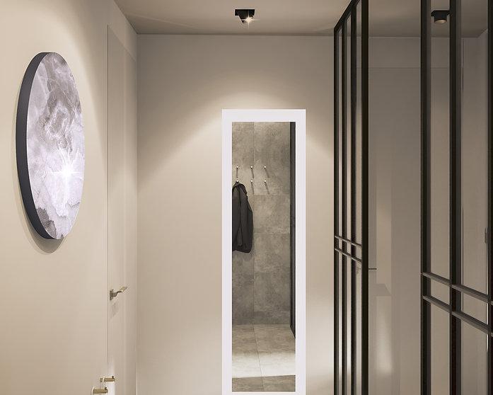 Дизайн проект прихожей в квартире. Зеркало с подсветкой с секретым шкафчиком внутри.