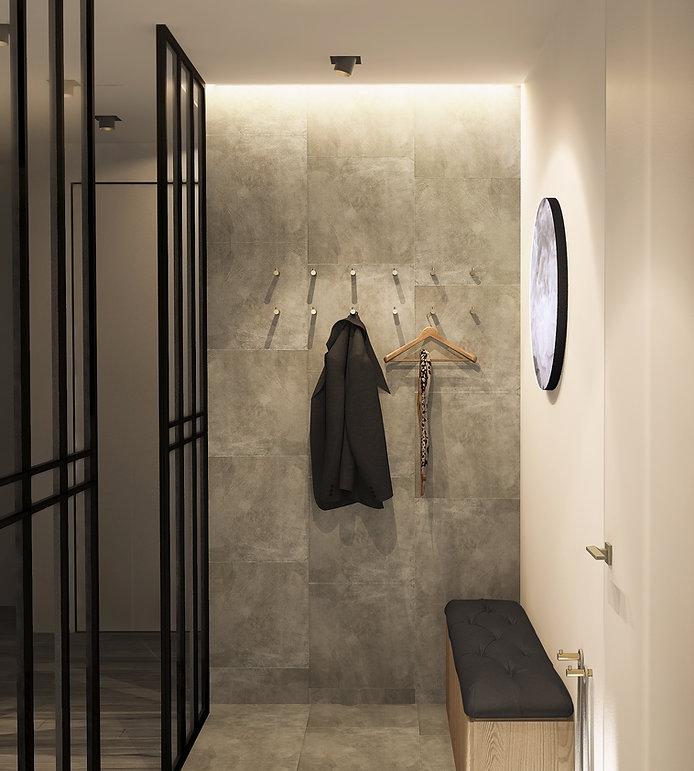 Дизайн проект прихожей в современном стиле. Керамогранит на стене. Латунные крючки вместо вешалки. Элегантный минимализм. Точечные светильники создают атмосферу уюта