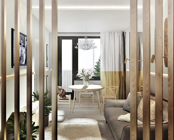 Дизайн гостиной. Латунные детали, горчично-белые шторы, светлые и холодные оттенки стен, дизайнерская мебель создают ощущение комфорта