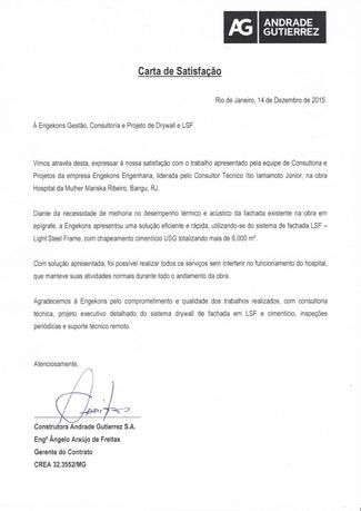 Carta de Satisfação - Andrade Guttierrez