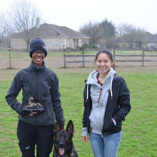 Hades with his owners Kelly Green and Sarah Clark