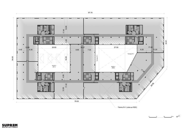 Bureaux & laboratoire CRETEIL - Plan étage courant