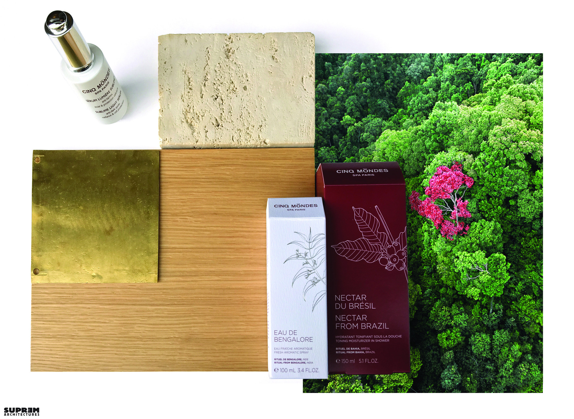 """Concept corner """"Cinq Mondes"""" - Planche matériaux"""