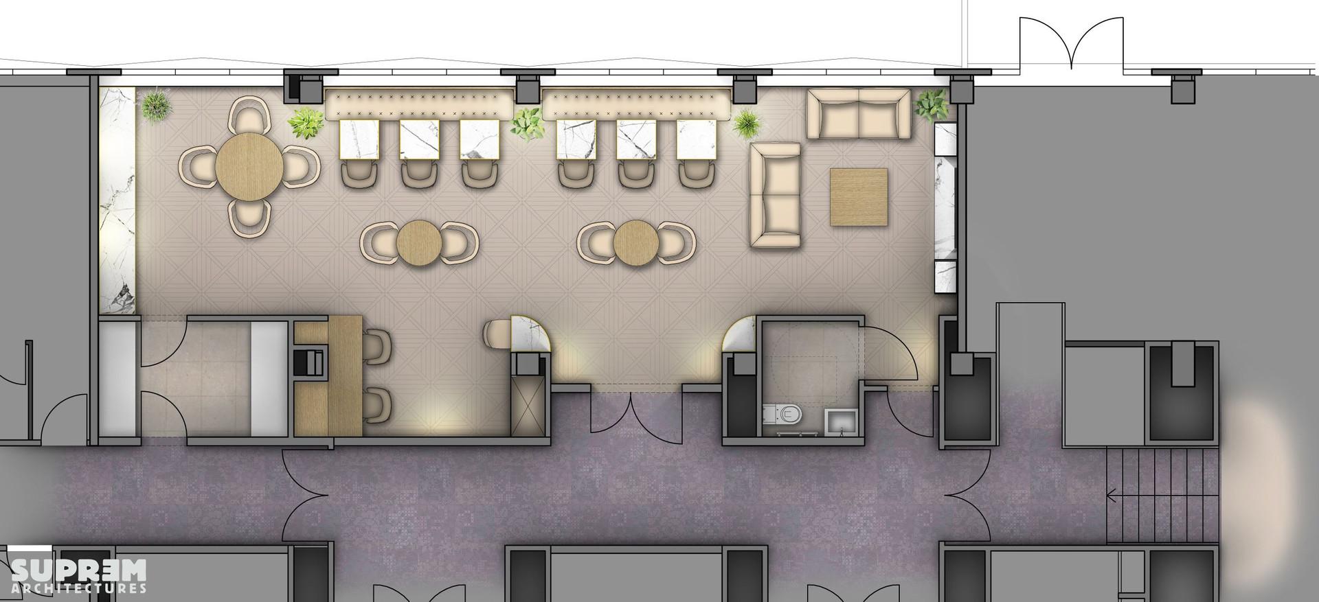 "Bar et Restaurant ""Crowne Plaza Hotels & Resorts****"" - Plan du club lounge"