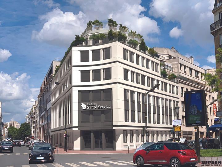 Siège de FONDATION SANTE SERVICE - Perspective façades