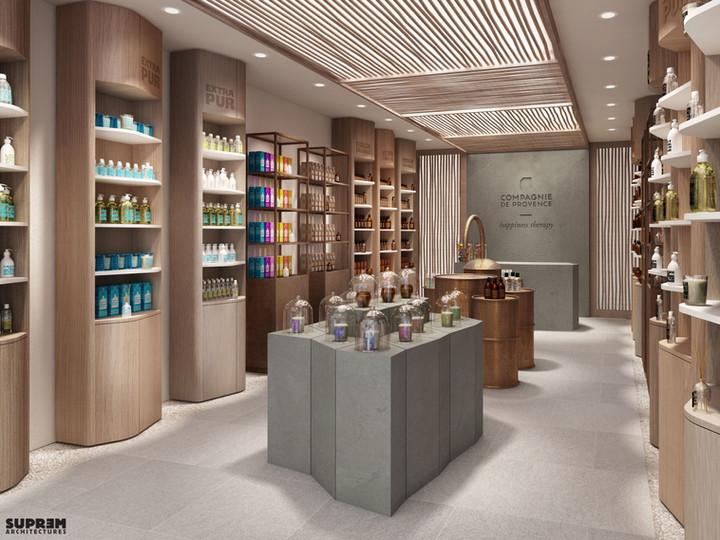 """Boutique """"Compagnie de Provence"""" MILAN - Vue intérieure 3D"""