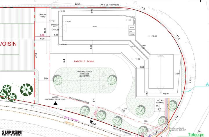 Bureaux et laboratoir TOTALINUX - Plan de toiture