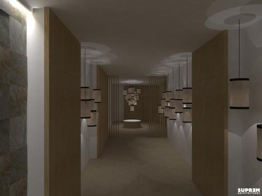 """Spa """"Cinq Mondes"""" MONACO - 3D Circulation vers salles de soins"""