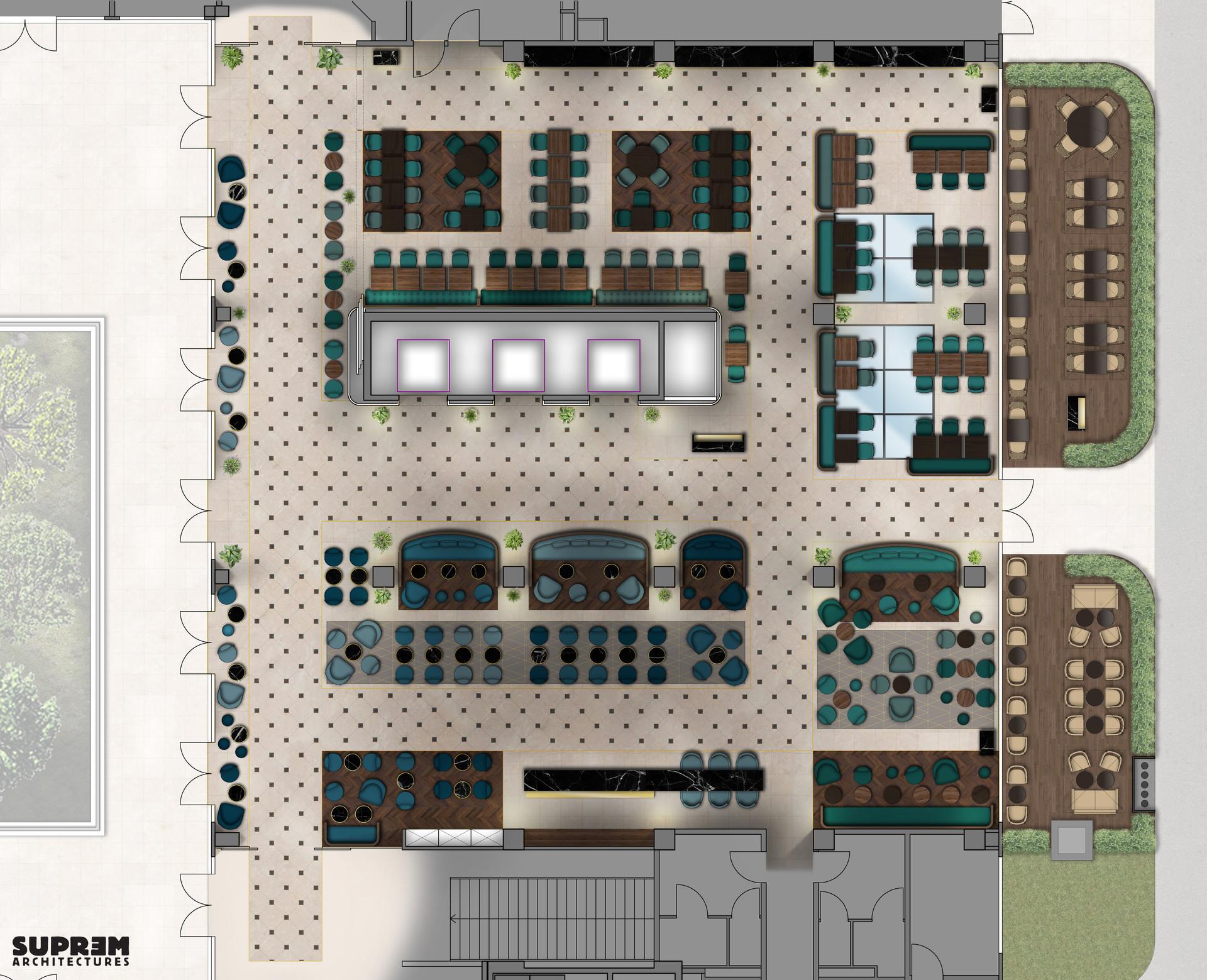 "Bar et Restaurant ""Crowne Plaza Hotels & Resorts****"" - Plan du bar et restaurant"