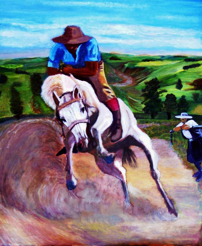 Gaucho uruguayo domando un caballo