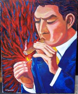 Encendiendo el puro