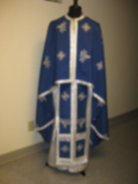 Evan EMBROIDERED blue&silver Priest fron