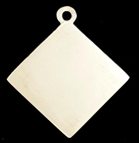 Diamond Shape Pendant -Rhodium- Silver Color