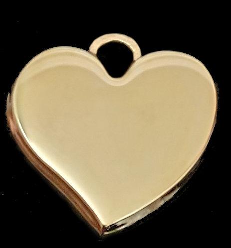 לב תלת מימדי מחודד - רודיום - צבע זהב