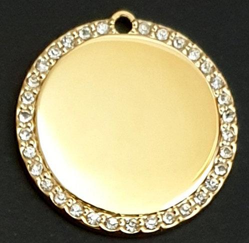 עגול עם מסגרת אבן (גדול) - רודיום - צבע זהב
