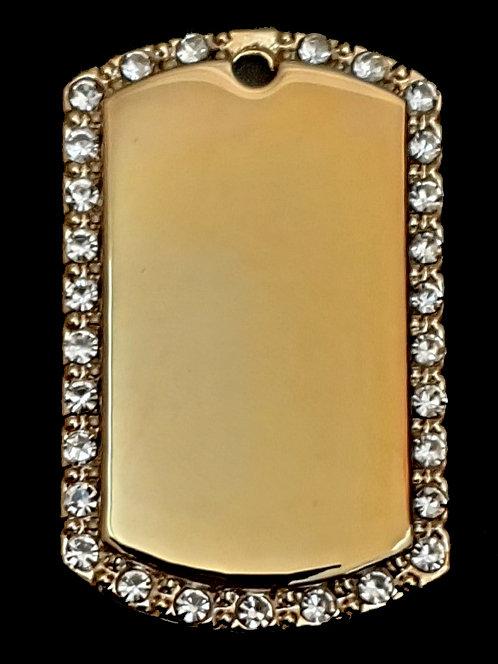 תליון בסגנון צבאי - עם מסגרת אבן (בינונית) - רודיום - צבע זהב