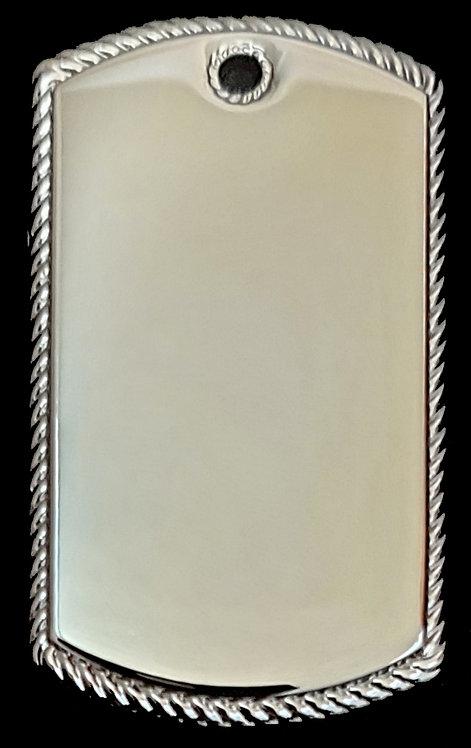 תליון בסגנון צבאי - עם מסגרת חבל (גדול) - רודיום
