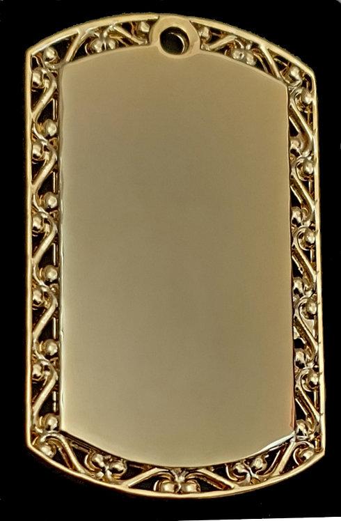 תליון בסגנון צבאי - עם מסגרת עיצובית (גדול) - רודיום - צבע זהב