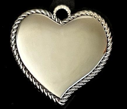 לב מחודד עם מסגרת חבל - רודיום