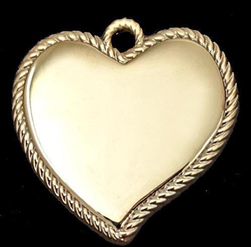 לב מחודד עם מסגרת חבל - רודיום - צבע זהב